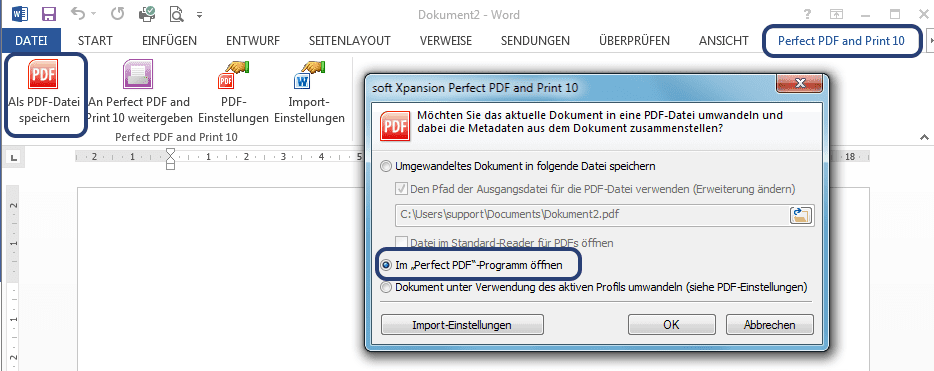 Word-Dateien in PDF konvertieren